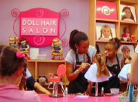Doll hair salon in pink
